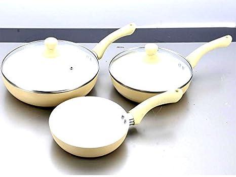 5/7/11 piezas Juego de cerámica sartén (cazo ollas sartenes antiadherente tapa de cristal (Pyrex, cerámica aluminio, crema, 5pc: Amazon.es: Hogar