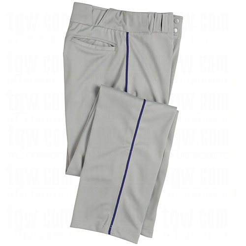 CHAMPRO Boy's Sports Pro-Plus Open Bottom Pants with Piping, Grey/Navy, X-Large