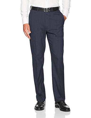 - J.M. Haggar Men's Jm Haggar Sharkskin Expandable Waist Classic Fit Dress Pant, Dark Navy, 38Wx31L