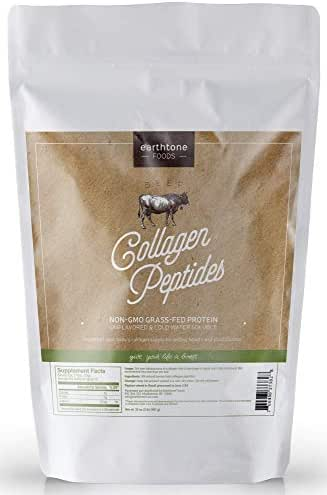 Earthtone Collagen Peptides Powder (32 oz) | Paleo-Friendly Hydrolyzed Grass-Fed Non-GMO Protein (Packaging May Vary)