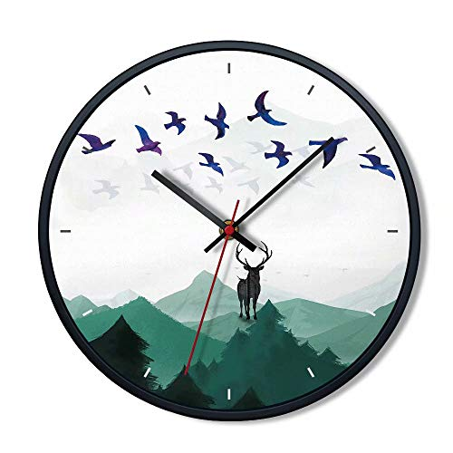 FlorLife Large Decorative Wall Clocks Silent Quartz Sweep Wall Clock Glass Cover 12 Inch Round Metal Frame - Battery Operated Hanging Clock, Elk Guard The Mountain - Elk Cuckoo Clock