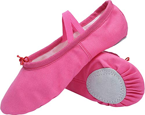 L-RUN Women's Canvas Ballet Slippers Practice Yoga Flat Shoes Rose Red ()