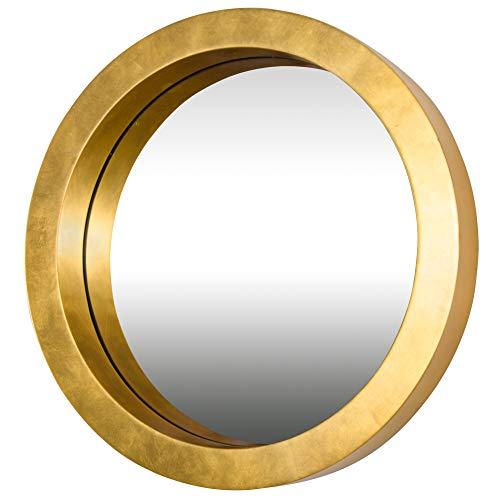 - Varaluz Casa 410A01GL Ringleader Thick Frame Round Mirror - Gold Leaf Finish