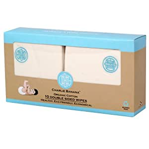 Charlie Banana 10 Reusable Double Sided Wipes, Blue Emb.