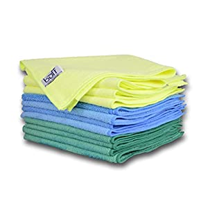 "Multi-Color Microfiber Towels 12 Pack by Buff Pro | Professional House-Hold Cleaning Cloths For High Quality Results | large size 16"" x 16"" Blue, Yellow, Green"