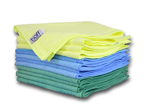 "Buff Pro Multi-Surface Microfiber Towel – 12 Pack | Premium Cleaning Cloths | Clean, Dust, Polish, Absorb | Large 16""x16"" Blue, Green & Yellow"
