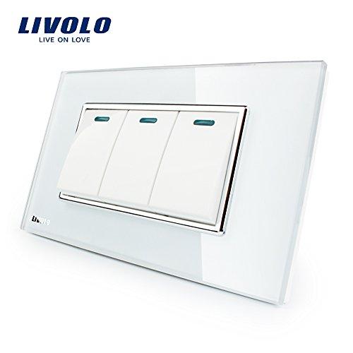 LIVOLO Push Button Switch White US/AU Standard 3 Gang 2 Way Light Switch Luxury Tempered Glass Panel,AC110-220V,C3K3S-81 (Luxury 3 Light)