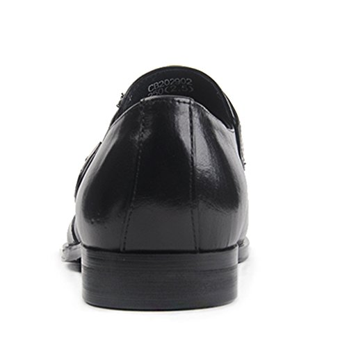 Insun Men's Leather Pointy Slip On Dress Shoes Black F7KwAyLJ