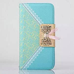 LZX Lace Bow Pattern PU Leather Full Body Case with Metal Chain for Samsung Note 3(Assorted Colors) , Blue