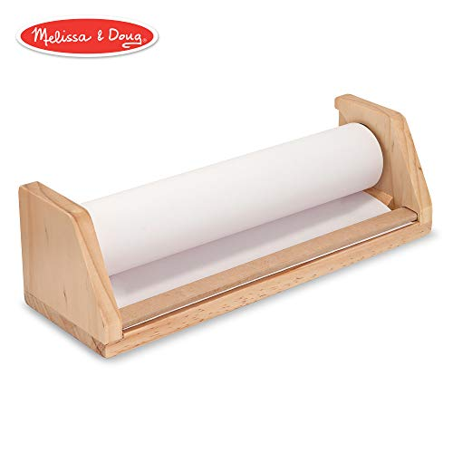 (Melissa & Doug Wooden Tabletop Paper Roll Dispenser, Arts & Crafts, Child-Safe Tear Strip, Premium-Weight White Bond Paper, Fits 12