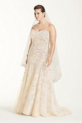 Tulle Plus Size Oleg Cassini Lace Trumpet Beaded Wedding Dress Style 8CMB619