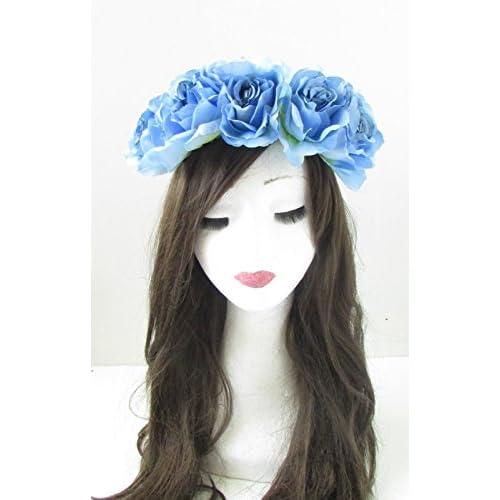 Grand Bleu clair Rose Fleur Bandeau cheveux Couronne Guirlande Festival d'été VTG 8AJ * * * * * * * * exclusivement vendu par–Beauté * * * * * * * *