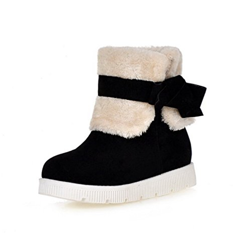 Pull Top Round Low Heels Frosted Black Low Women's On Toe Boots AmoonyFashion Closed wIUEqgWv