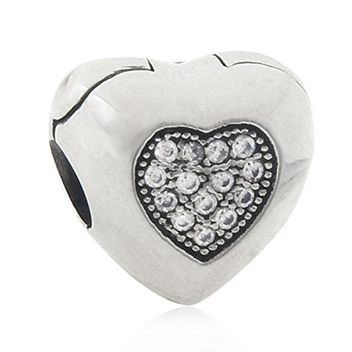 Clip Charm With Crystal Charm 925 Sterling Silver Heart Charm Lock Charm Spacer Charm for DIY Charms Bracelet (Heart Clip Silver)