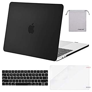 MOSISO MacBook Pro 13 inch Case 2019 2018 2017 2016 Release A2159 A1989 A1706 A1708, Plastic Hard Shell Case&Keyboard Cover&Screen Protector&Storage Bag Compatible with MacBook Pro 13, Black