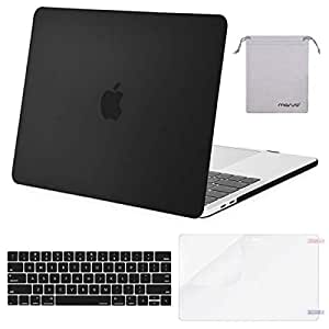 MOSISO MacBook Pro 13 Inch Case 2019 2018 2017 2016 A2159 A1989 A1706 A1708,Plastic Hard Shell Case&Keyboard Cover&Screen Protector&Storage Bag Compatible with MacBook Pro 13 Inch, Black
