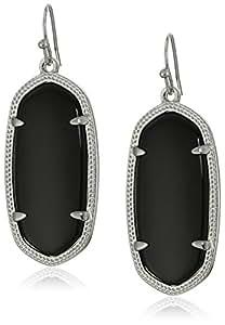 "Kendra Scott ""Signature"" Elle Rhodium plated Black Glass Drop Earrings"