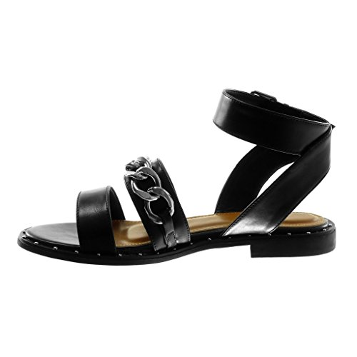 Zapatillas Angkorly Cadena Tachonado Correa Tobillo Moda Tanga Tac de Sandalias Mujer 6ddrqwTx