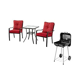 Mainstays 3-Piece Outdoor Bistro Set, Seats 2 (Red with Charcoal Grill)