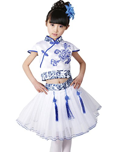Lemail wig Printed Chinese Traditional Girls's Costumes Short Sleeve Top+Skirt 140cm