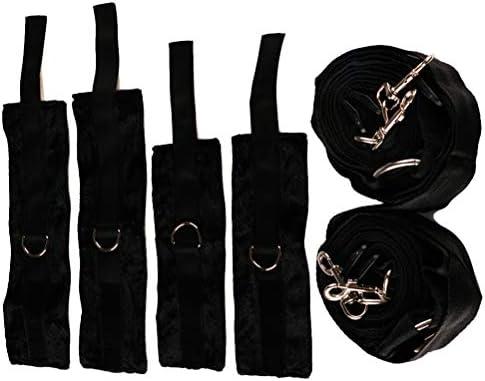Supvox 8 stücke Bett manschetten träger set bett gebunden spielzeug hände und füße kombination nylon strap bett spielen für paare frauen (schwarz)