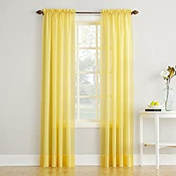 "No. 918 Erica Crushed Textured Sheer Voile Rod Pocket Curtain Panel, Yellow, 51"" x 84"""