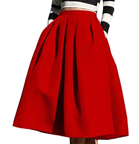CoutureBridal? Femme Jupe Elgante Jupe Vintage Haille Haute avec Poche Satin au Genou 70CM Rouge