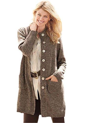 Women's Plus Size Marled Sweater Jacket Light Khaki (Button Trimmed Sweater)