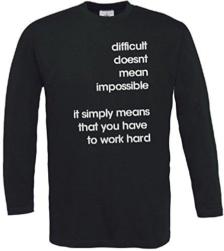 Hombre Cita larga dura Manga imposible No Vida Motivaci Camiseta wq7AxdtRW7