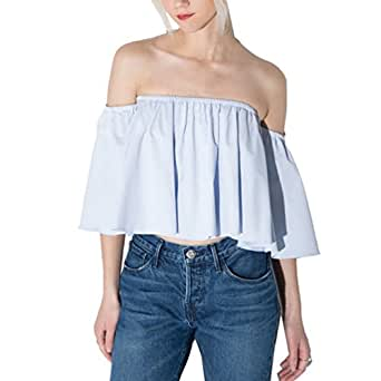 Idealhome Womens Flare Sleeve Off Shoulder Ruffle Low-cut Strapless Crop Top Light Blue XXL