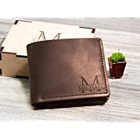 Sparkle /& Dots Genuine Leather Mens Bi-fold Wallet Personalized