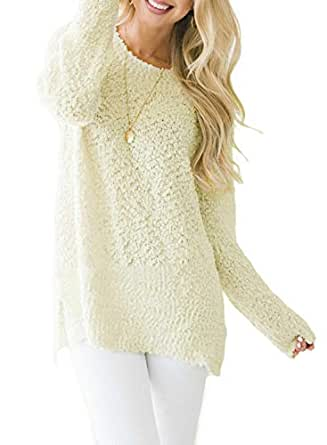 Asvivid Womens Cozy Long Sleeve Crewneck Loose Popcorn Knitted Pullover Sweater Tops - White - (US12-14) Large
