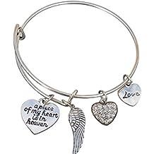 Memorial Jewelry, Memorial Bracelet, A Piece of My Heart is in Heaven Bangle Bracelet