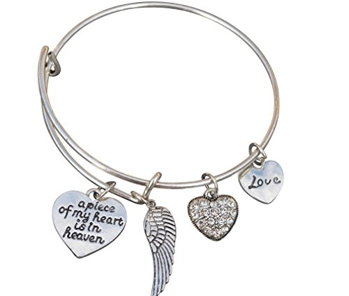(Infinity Collection Memorial Jewelry, Memorial Bracelet, A Piece of My Heart is in Heaven Bangle)