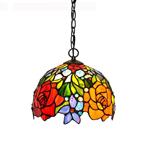 Tiffany Style Pendant Lamp,10-inch Two-tone Rose Design Glass Art Chandelier, Bedroom Diningroom Bar Pendant Lights (Tone Two Ring Tiffany)