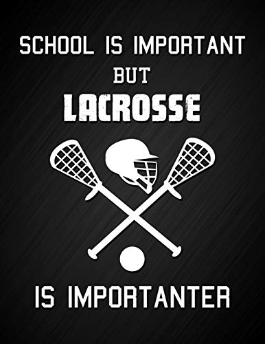 School Is Important But Lacrosse Is Importanter: Funny Lacrosse Sport Quote Notebook Motivational Journal Blank Lined College Ruled Composition ... for Lacrosse Player Son, Gift for Daughter por Dream Journals