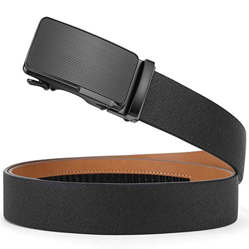 (SOPONDER Belts for Men Leather Ratchet Belts Mens Leather Belt Automatic Buckles Mens Dress Belt Trim to Fit Shorter Than 36 Waist Size)