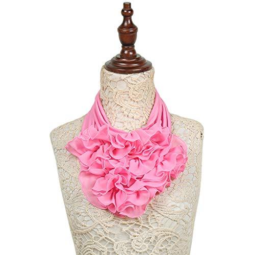 ノベルティ崩壊呪いHaoruiqi 女性のソリッドカラーの花の襟のスカーフ豪華なネクタイーリングネックスカーフ 柔らかい