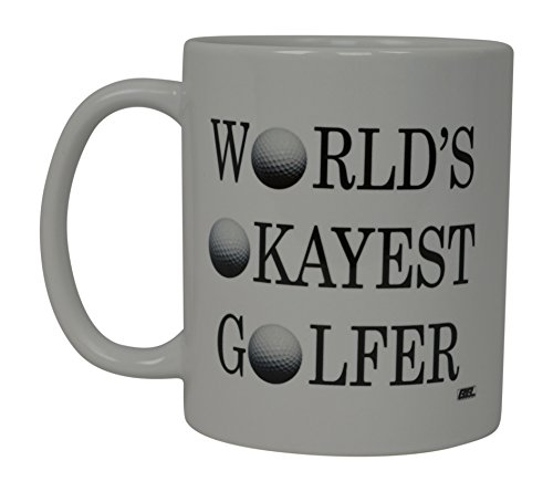 Funny Golf Coffee Mug World's Okayest Golfer Novelty Cup Joke Gift Idea For Office Dad