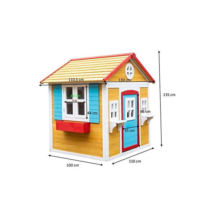 41uZ6WMuXIL La casita Visby es una preciosa casita con unos colores que a los niños les encantará. Son colores muy cálidos y agradables que harán de esta casita un lugar del que no salir. La casita Visby es de un tamaño compacto, apta para cualquier jardín o patio particular. La casita Visby tiene muchos detalles que darán vida a esta casa. Desde sus ventanas fijas y practicables hasta los maceteros o incluso una chimenea en su interior! La casita Visby parece una casa de madera de verdad, un auténtico refugio donde sus sueños se harán realidad. La casita Visby está fabricada de madera de pino y está tratada para ser instalada al exterior. El montaje de la casita es fácil y te llevará poco tiempo. En unos minutos tendrás la casita Visby montada y lista para instalar en cualquier espacio de tu jardín y a punto para que jueguen con ella durante horas y horas.