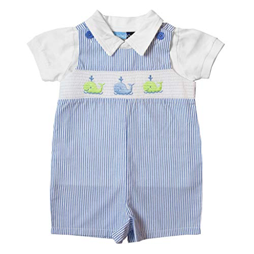 - Good Lad Newborn/Infant Boys Blue Seersucker Smocked Shortall Set with Whale Embroderies