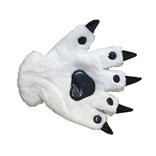Panda Paws Halloween (Animal Paw Calw Plush Funny Halloween Costume Hand Gloves White)