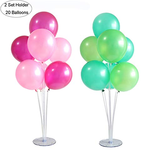 Table Balloon Stand Kit (2 Sets) Plus Party Balloons (20pcs) (10 inch) - Reusable Clear Balloon Holder Includes 14 Sticks, 14 Cups, 2 Base with Balloons for Birthday Wedding Party Event Decorations