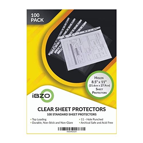 Pack of 100 Clear Sheet Protectors 8.5