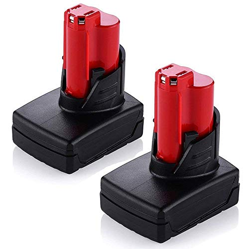 5000mAh Batteries for Milwaukee M12 48-11-2401 RED LITHIUM Replacement 12v 48-11-2402 48-11-2440 48-11-2411 Cordless Tool Battery 2Packs by Fhybat