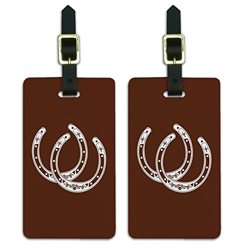 Horseshoe Lucky Double Cowboy Brown Luggage ID Tags Carry-On Cards - Set of 2