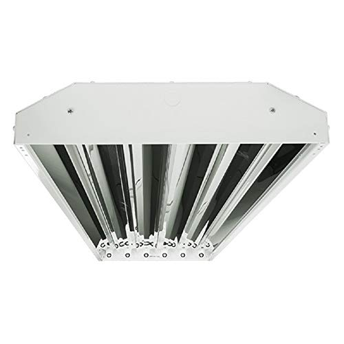 (LED High Bay - Includes Non-shunted sockets for use with 6 Direct Wire LED T8 Lamps - Chain Mount - White Finish - PLT 55062)