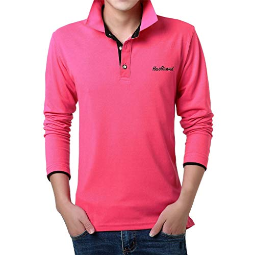 MIS1950s Mens Polo Shirts Casual Long Sleeve Golf Shirts Dry Fit Athletic T-Shirt Turn-Down Collar Casual Button Top