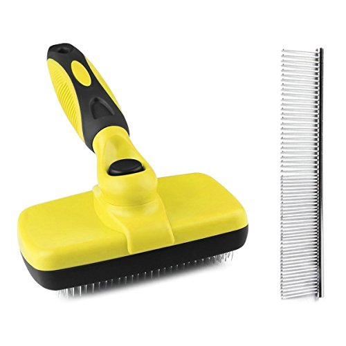 (ZIMINGU Self Cleaning Slicker Brush, Dog Shedding Brushes Pet Grooming Brush Dog Slicker Brush Dogs,Cats,Rabbits,Poodles,Removes Tangles,Loose Hair Built-in Button Stainless Dog Comb)
