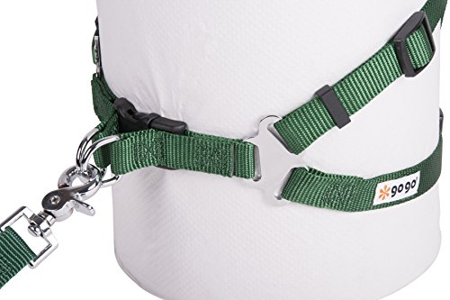Image of GoGo Pet Products Comfy Nylon 5/8-Inch Adjustable Easy Pet Harness, Small, Hunter Green
